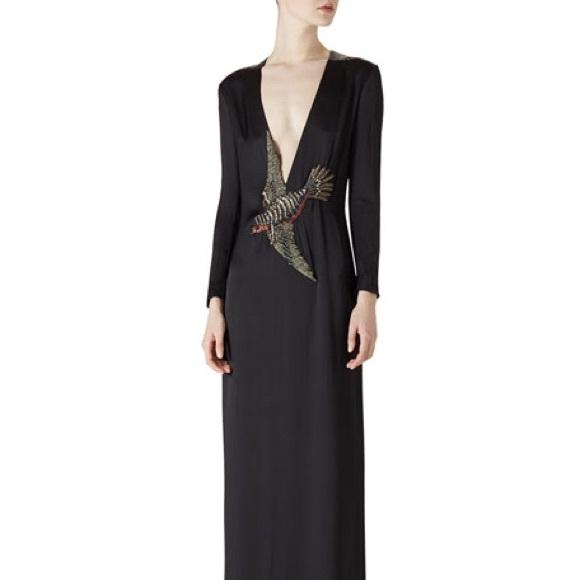 a8e59edc866 New Gucci Bird Embellished Black Silk Gown sz40